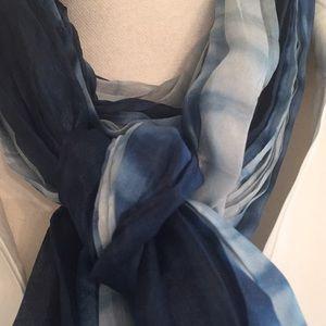 Eileen Fisher 100% Silk Tie Dye Turquoise Scarf